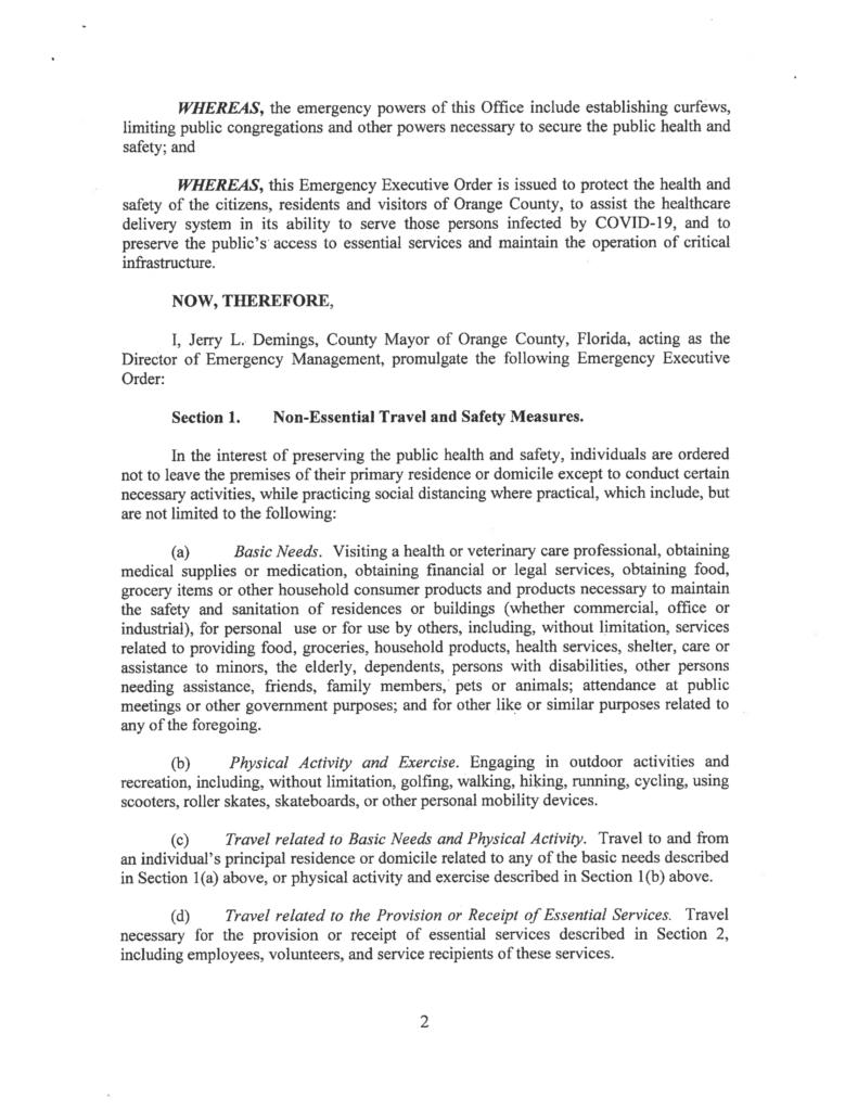 Orlando Order To Shutdown